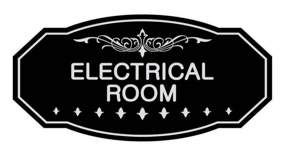 Black / Silver Victorian Electrical Room Sign