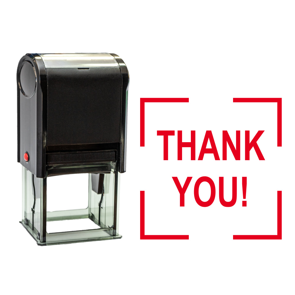 Square THANK YOU Self Inking Rubber Stamp Size 1-5/8""