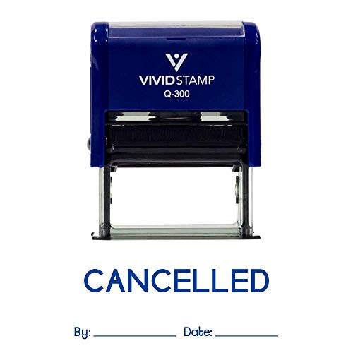 Cancelled By Date Self Inking Rubber Stamp