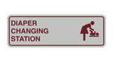 Light Grey / Burgundy Signs ByLITA Standard Diapers Changing Station Sign