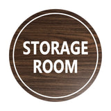 Walnut / White Signs ByLITA Circle Storage Room Sign