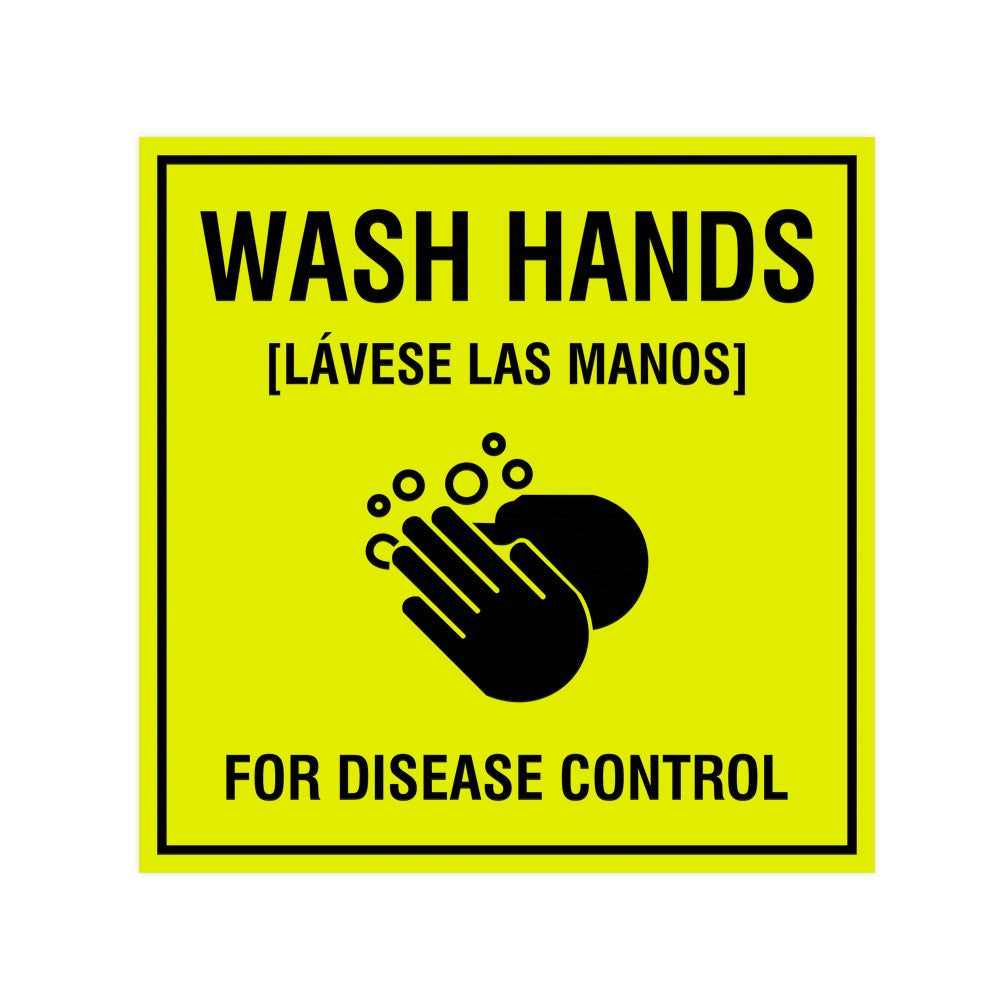 Signs ByLITA Square Wash Hands For Disease Control Sign