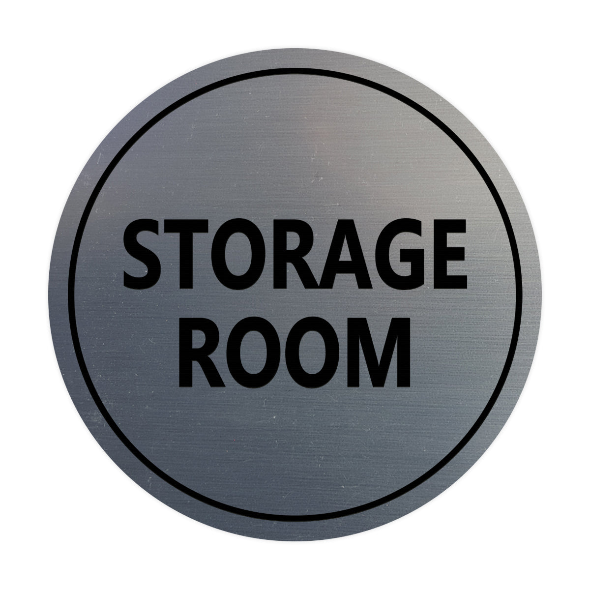 Brushed Silver / Black Signs ByLITA Circle Storage Room Sign