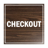 Signs ByLITA Square Checkout Sign with Adhesive Tape, Mounts On Any Surface, Weather Resistant, Indoor/Outdoor Use