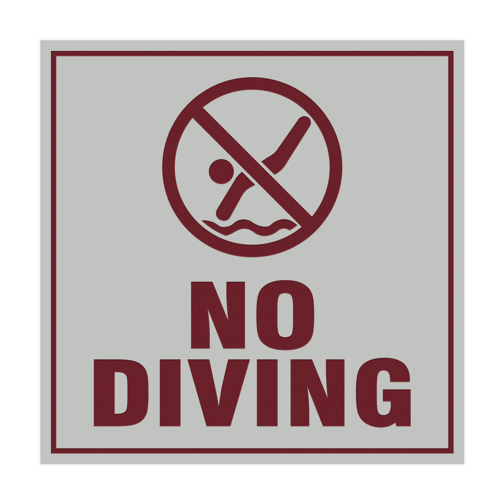 Signs ByLITA Square No Diving Sign with Adhesive Tape, Mounts On Any Surface, Weather Resistant, Indoor/Outdoor Use