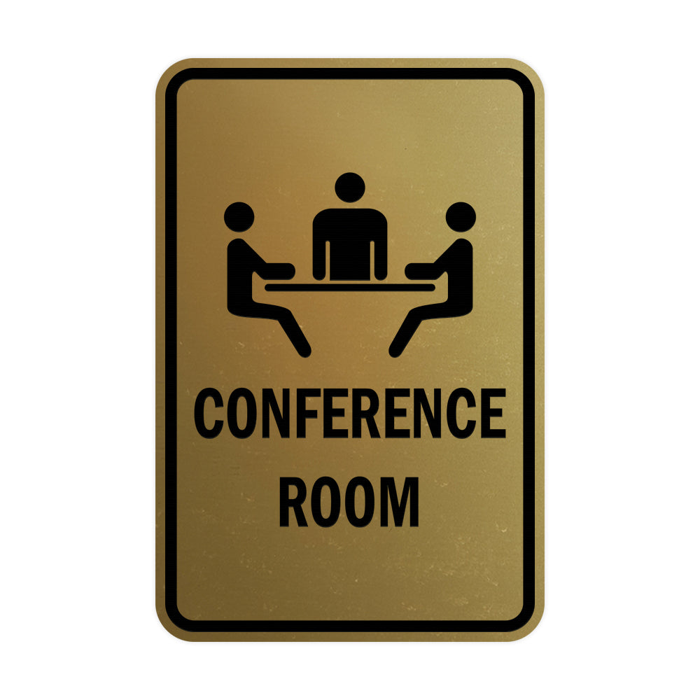 Brushed Gold Portrait Round Conference Room Sign