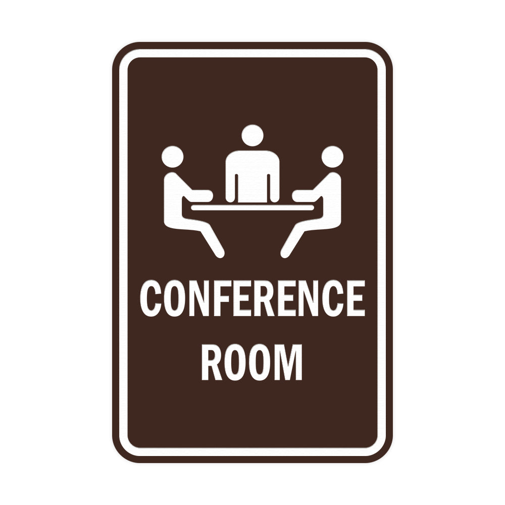 Dark Brown Portrait Round Conference Room Sign
