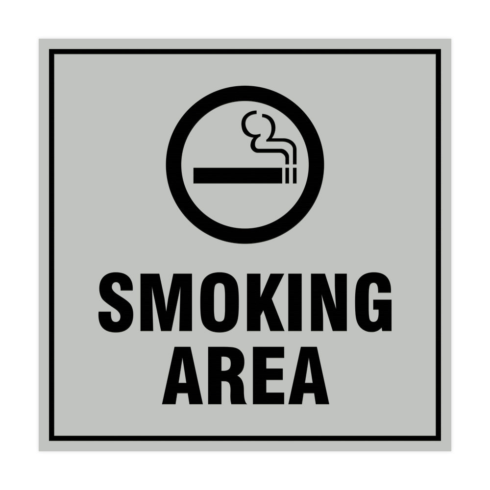Signs ByLITA Square Smoking Area Sign with Adhesive Tape, Mounts On Any Surface, Weather Resistant, Indoor/Outdoor Use