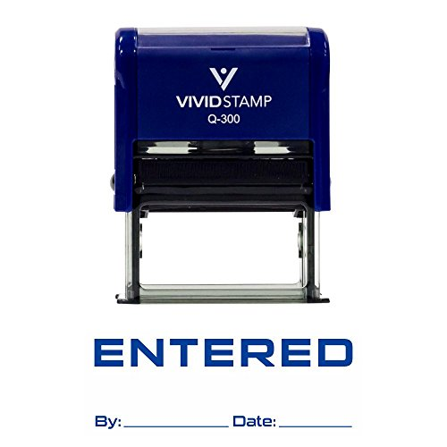Entered By Date Self Inking Rubber Stamp