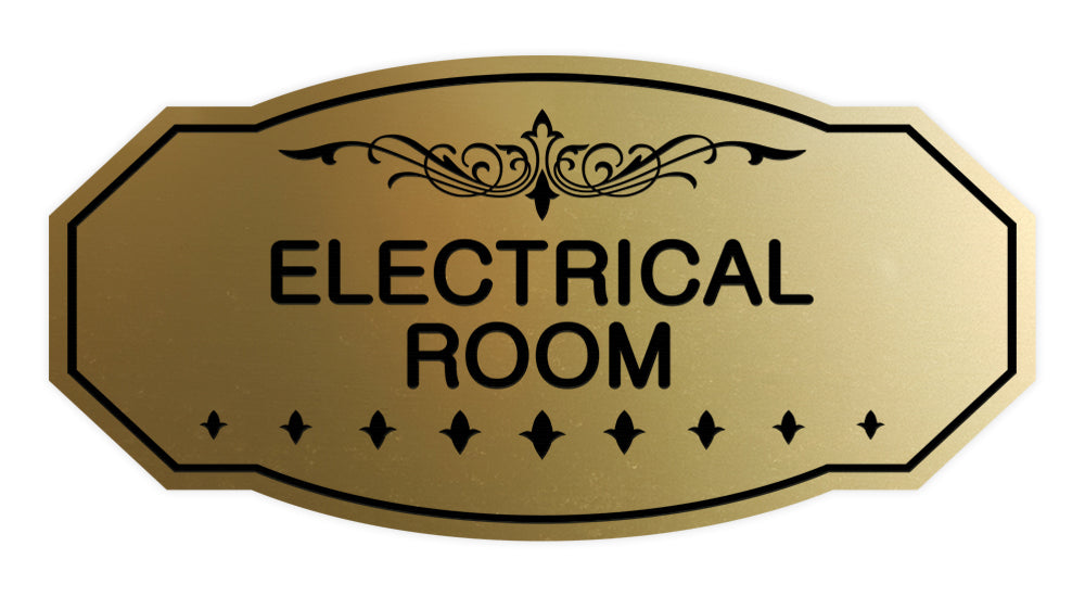 Brushed Gold Victorian Electrical Room Sign