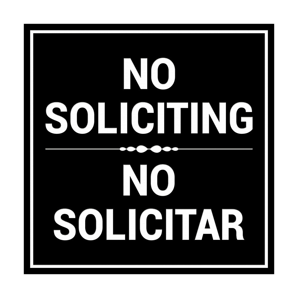 Signs ByLITA Square No Soliciting No Solicitar Sign with Adhesive Tape, Mounts On Any Surface, Weather Resistant, Indoor/Outdoor Use
