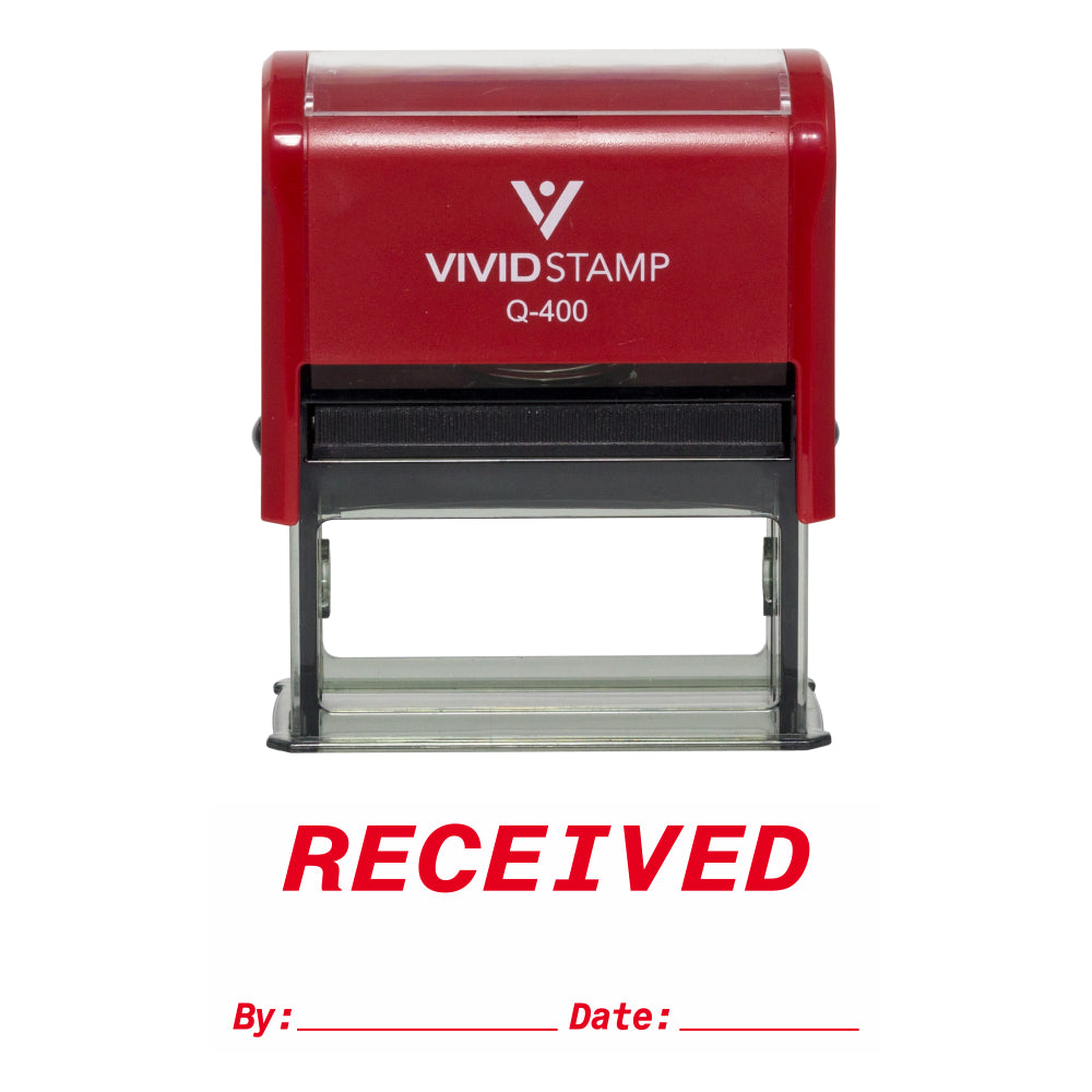 RECEIVED By Date Self Inking Rubber Stamp