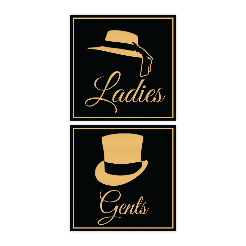 Signs ByLITA Square ladies and gents sign set with Adhesive Tape, Mounts On Any Surface, Weather Resistant, Indoor/Outdoor Use