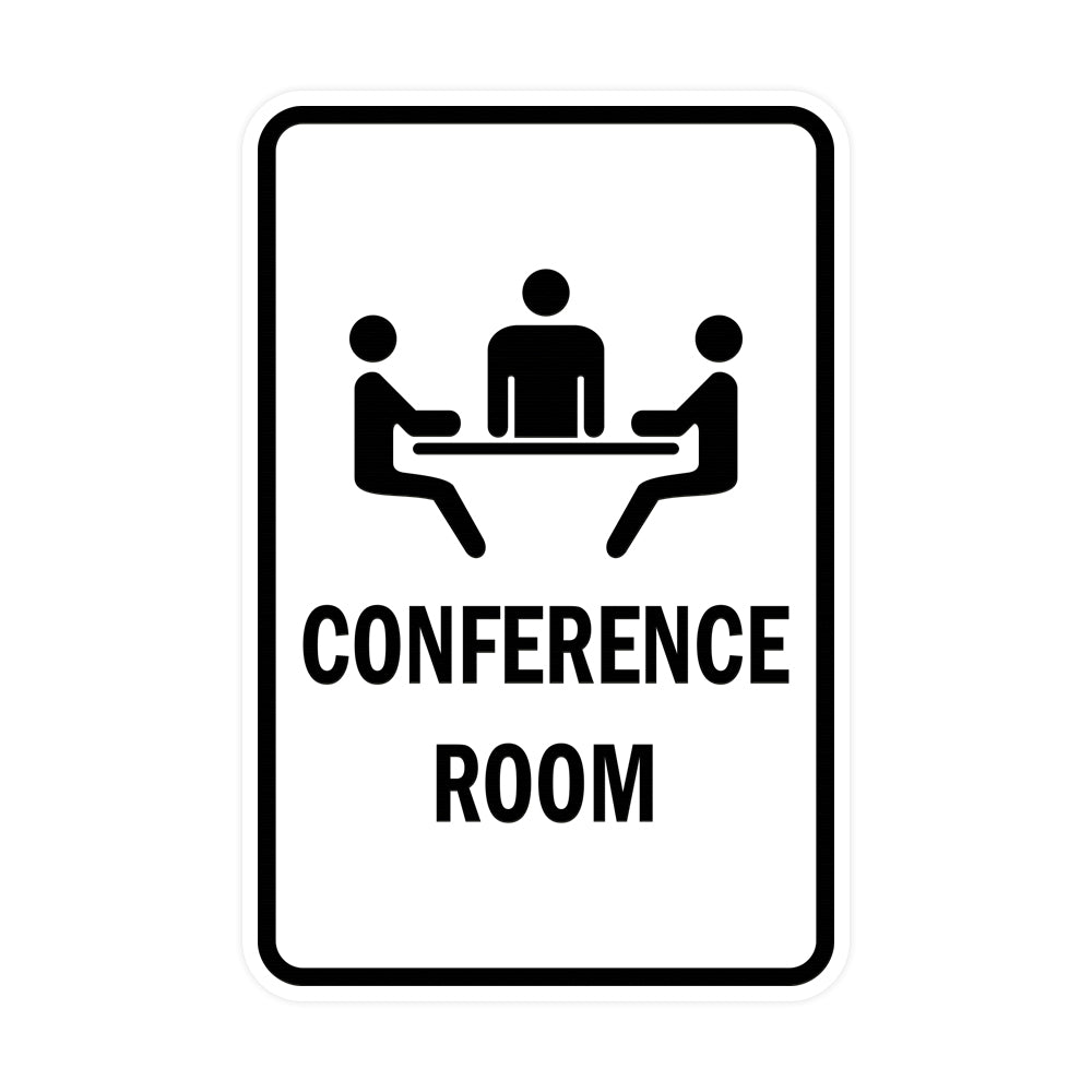 White Portrait Round Conference Room Sign