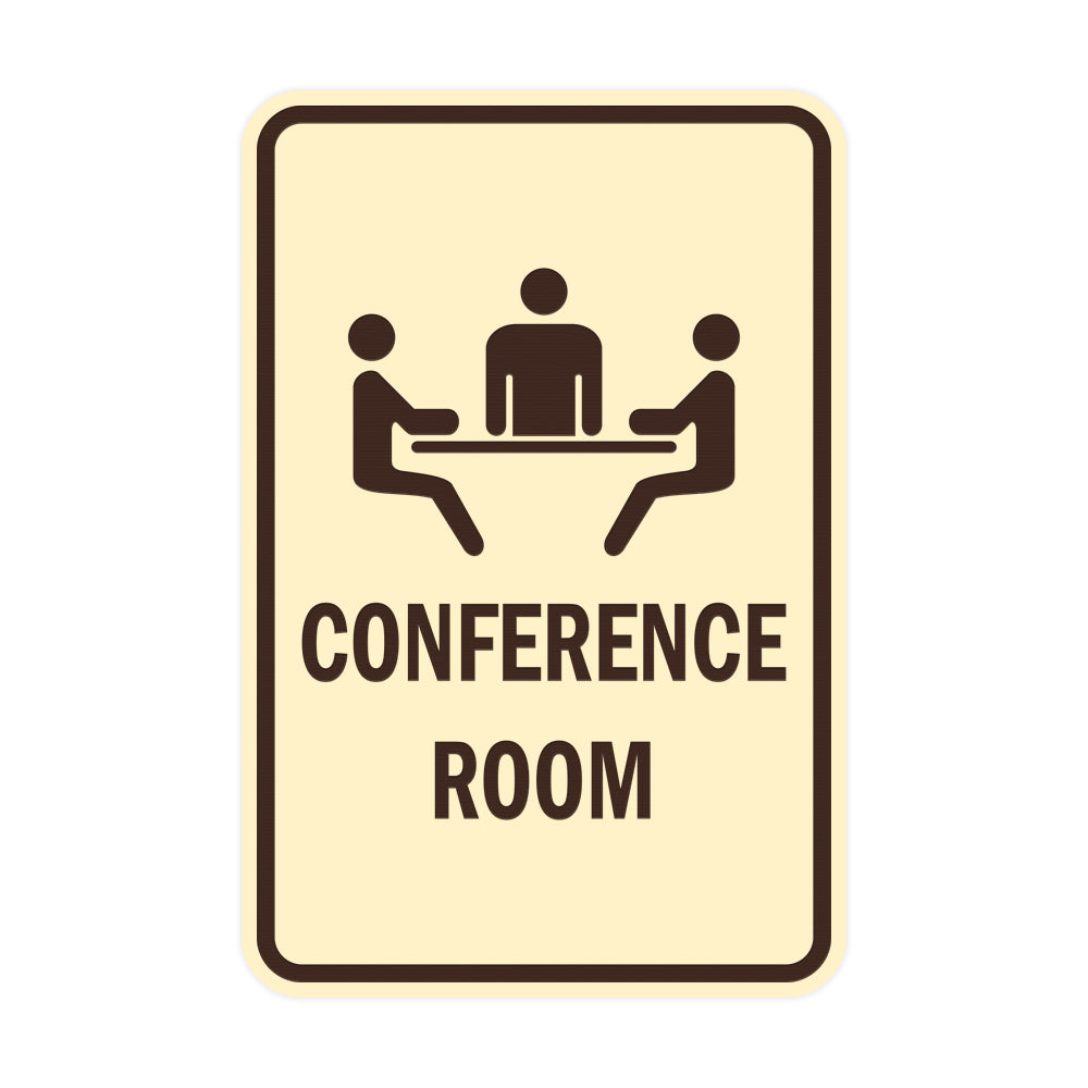 Ivory / Dark Brown Portrait Round Conference Room Sign