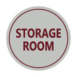 Light Gray / Burgundy Signs ByLITA Circle Storage Room Sign