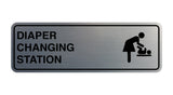 Brushed Silver Signs ByLITA Standard Diapers Changing Station Sign