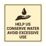 Signs ByLITA Square Help Us Conserve Water Avoid Excessive Use Sign with Adhesive Tape, Mounts On Any Surface, Weather Resistant, Indoor/Outdoor Use