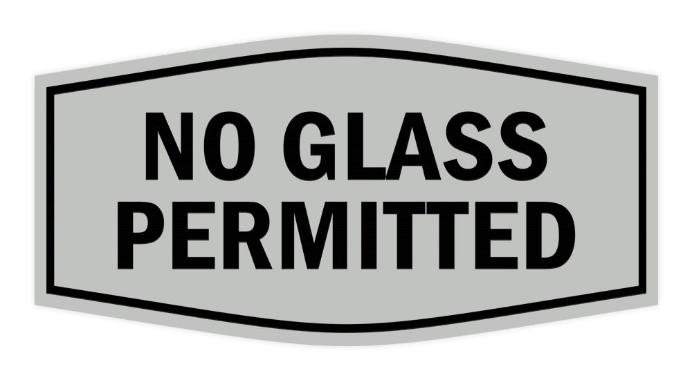Signs ByLITA Fancy No Glass Permitted Sign with Adhesive Tape, Mounts On Any Surface, Weather Resistant, Indoor/Outdoor Use