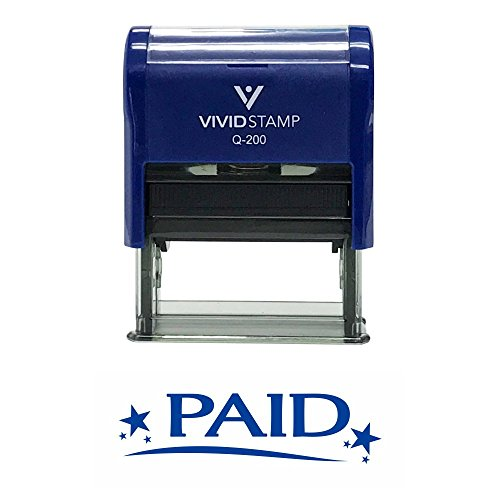 Paid W/Stars Self Inking Rubber Stamp
