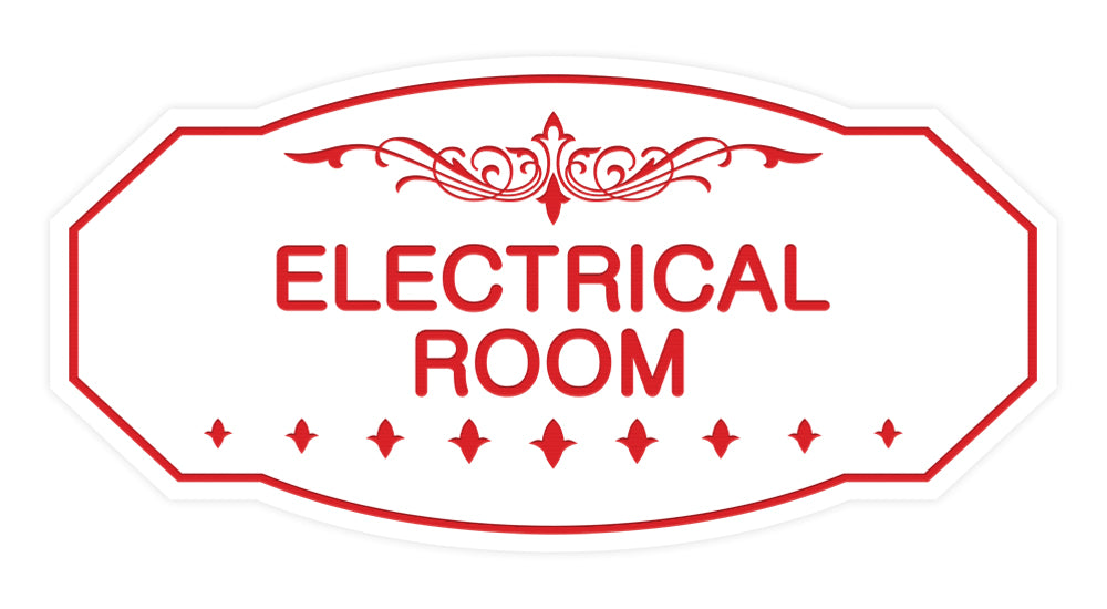 White / Red Victorian Electrical Room Sign