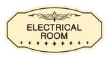 Ivory / Dark Brown Victorian Electrical Room Sign