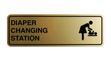 Brushed Gold Signs ByLITA Standard Diapers Changing Station Sign