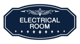 Navy Blue / White Victorian Electrical Room Sign