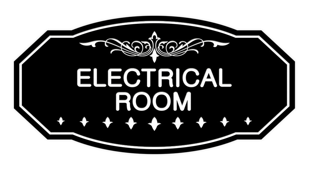Black Victorian Electrical Room Sign