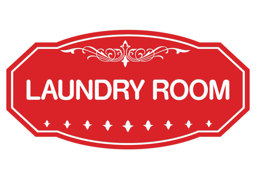 Red Victorian Laundry Room Sign