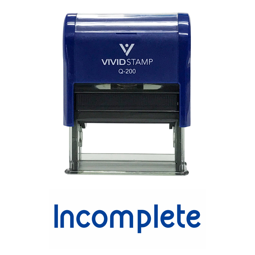 Incomplete Teacher Self Inking Rubber Stamp
