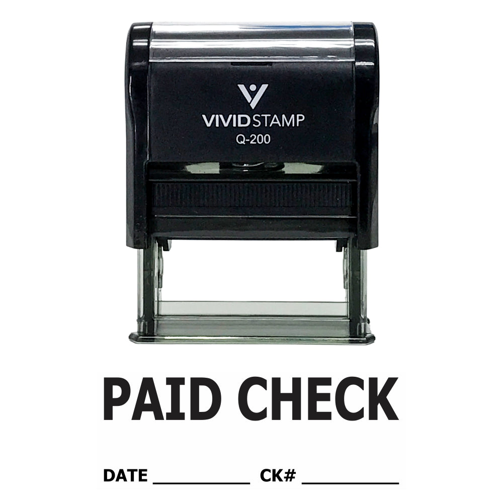 Paid Check W/ Date Ck# Line Self Inking Rubber Stamp