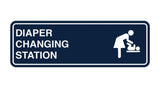 Navy Blue / White Signs ByLITA Standard Diapers Changing Station Sign