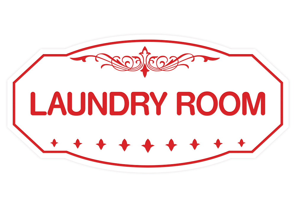 White / Red Victorian Laundry Room Sign