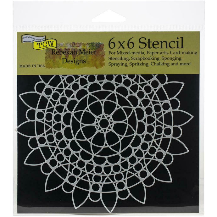 The Crafters Workshop 6 x 6 stencil - Sunflower Mandala