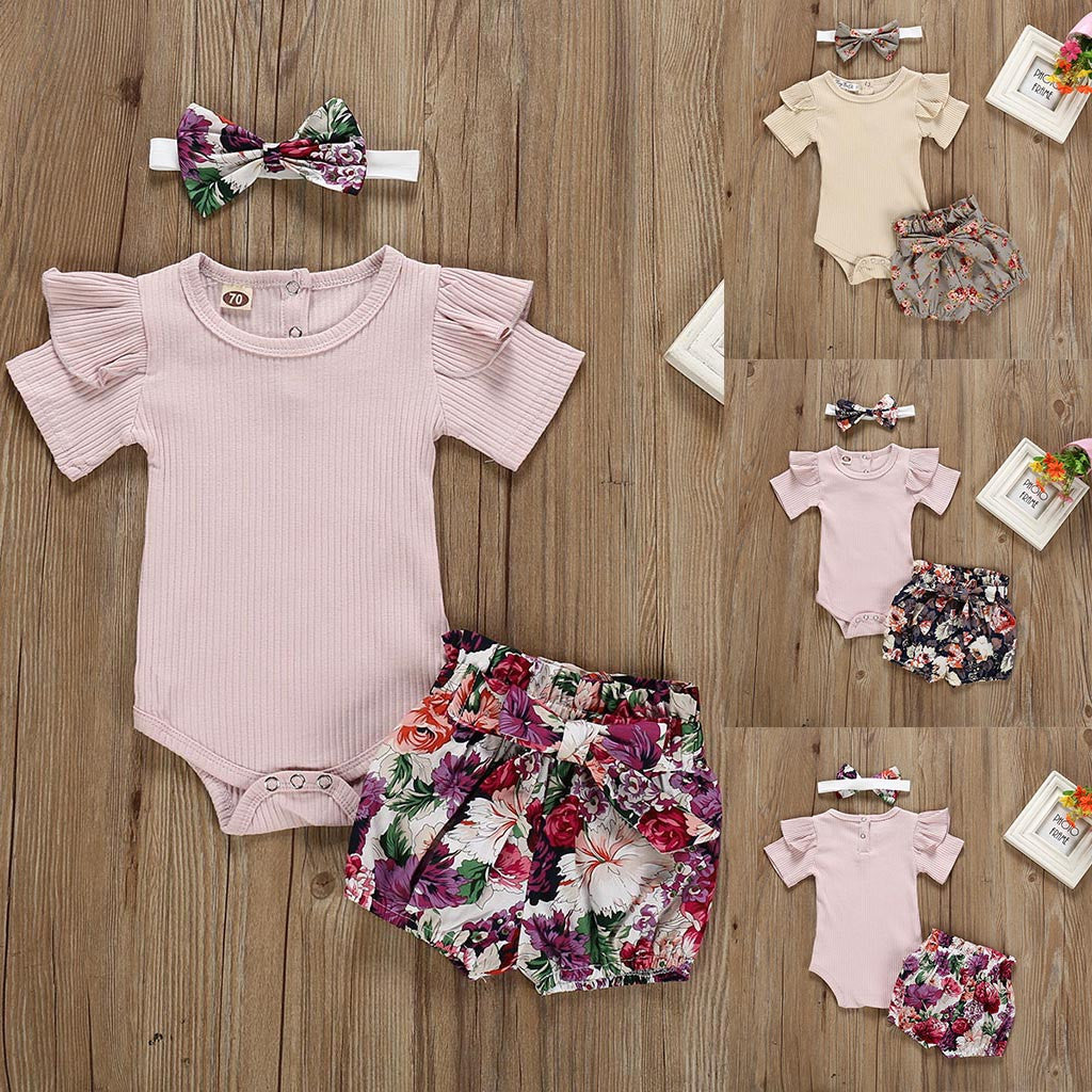 Casual sets in solid colors for bodysuit girls + printed pants + head tie for 6-24 months children