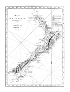 NZ Map 1770 - Wall Art - 42x54cm - White