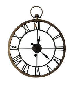 Clock - Antique Style - Brass/Metal 67cm