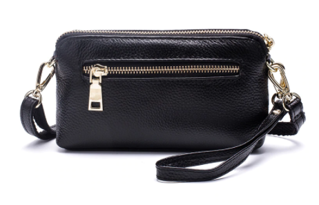Bag - Leather Crossbody with Side Zip