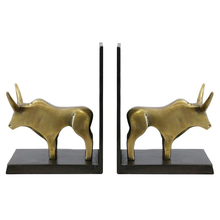 Load image into Gallery viewer, Bull Bookends - Brass