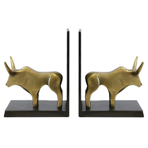 Bull Bookends - Brass