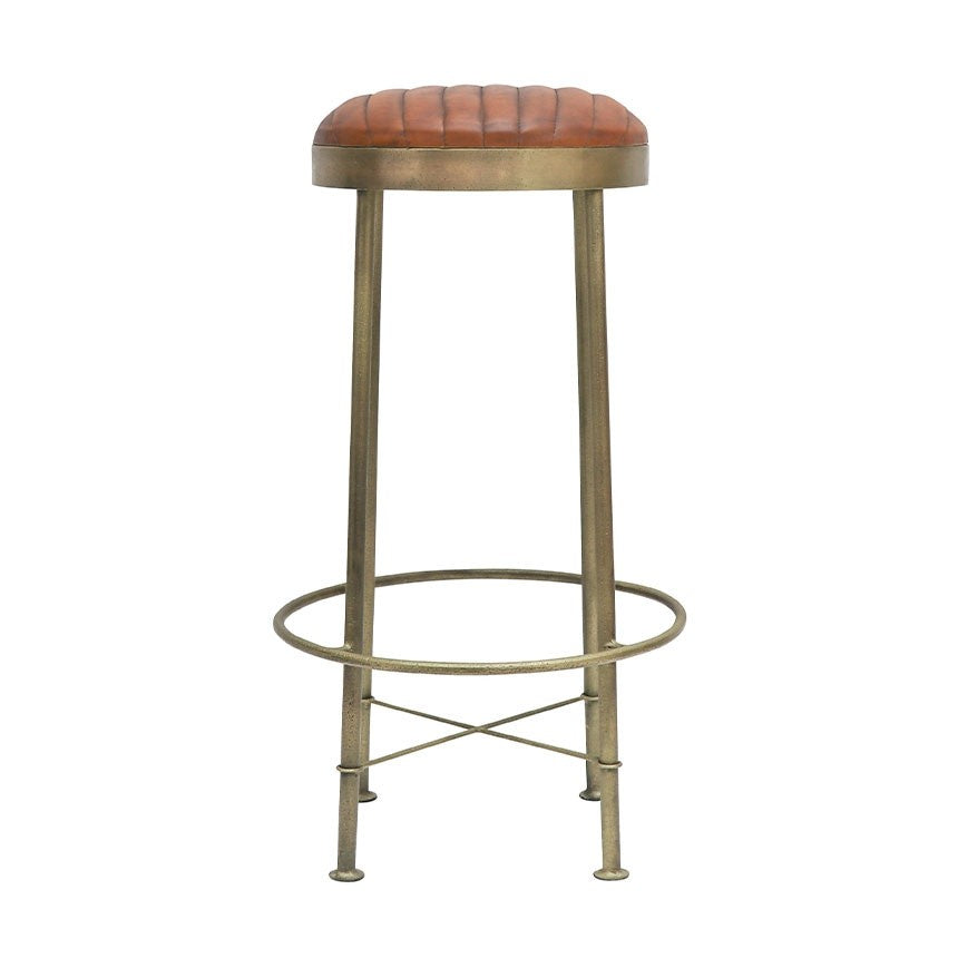 Stool - Brass & Leather