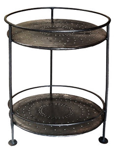 Iron 2 Tiered Round Table - 61cm