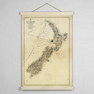 NZ Map 1917 - Art Print