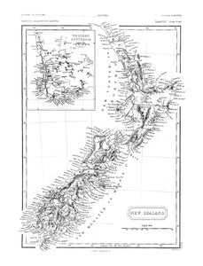 NZ Map 1861 - Wall Art 42x54 - Black