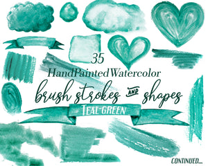 Watercolor Brush Paint Strokes Teal Clipart