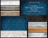 Individual rustic digital wood floors with baseboards overlays clipart - Steele Wizard Creation