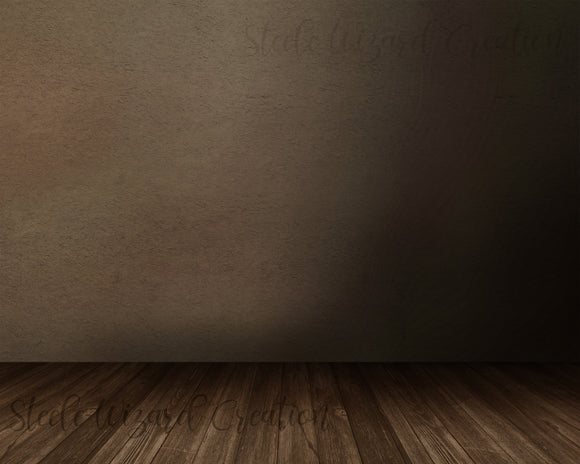 Brown Digital Backdrop, Wood Mockup Background With Floor - Steele Wizard Creation