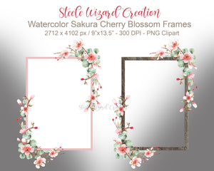 Watercolor Cherry Blossom & Eucalyptus Digital Frames