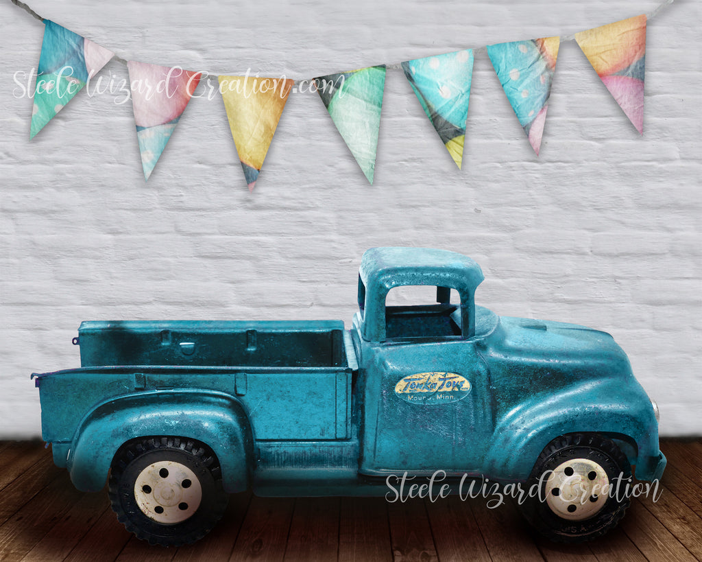 Easter Vintage Truck Newborn Backdrop